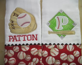 BATTER UP! Personalized Baby Boy Burp Cloths