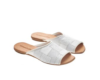 White leather sandals, Helena, flat sandals, handmade