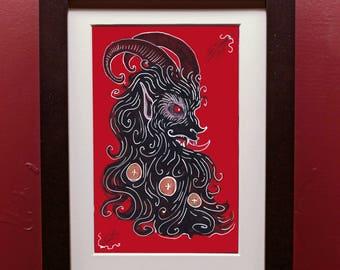 Yule Krampus Art Print 5x7 with Matting