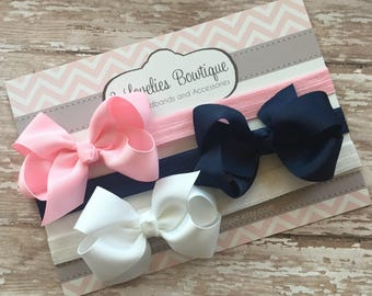 Baby headband..Set of 3 Bow Headbands..Newborn Headband..Baby Girl Headband.Bow Headband..Baby Headband..Toddler Headband..Infant Headband
