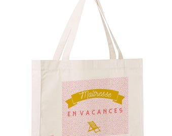 """""""Mistress on vacation"""" bag, Tote bag personalize, year-end gift, tote bag, cloth bag, cotton tote bag, french"""