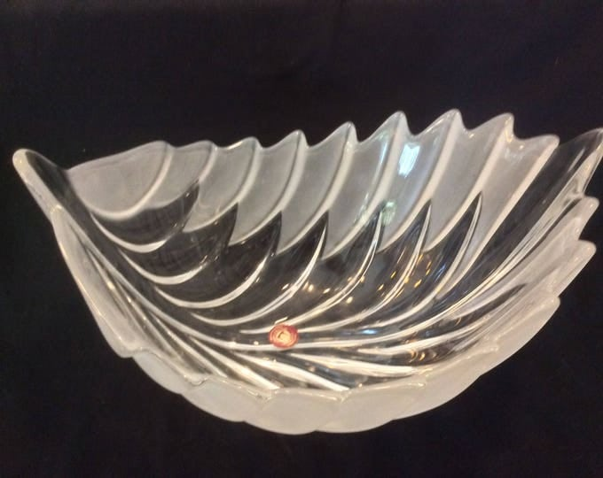 Vintage Mikasa Walther Glass Bowl, Leaf Shaped Bowl, Crystal Fruit Bowl, Centerpiece Bowl, Germany, Gift Christmas