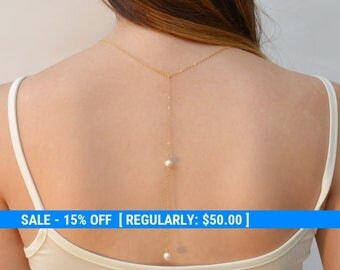 Wedding Backdrop necklace,pearl backdrop necklace,backdrop bridal necklace,back necklace wedding,back necklace- 21217