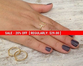 SALE 20% OFF Adjustable ring, gold ring, knuckle ring, bar ring, adjustable gold ring, gold knuckle ring - 10034