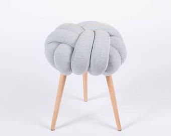 Light gray Knot stool, design chair, modern chair, industrial stool, wood stool,