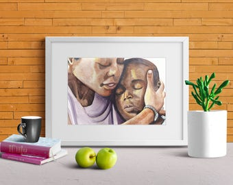 Moonlight print-moonlight movie-celebrity portrait-mothers day gift-family portrait- mother and son