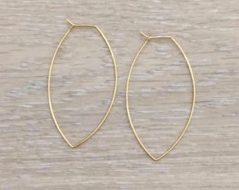 Geometric Hoops, Gold Hoops, Large Hoops, Gold Earring
