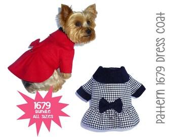 Dress Dog Coat Pattern 1679 * Bundle All Sizes * Dog Clothes Pattern * Winter Dog Coat * Dog Jacket * Warm Dog Coat * Little Dog Clothes
