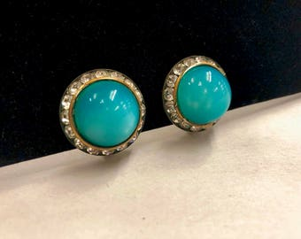 Vintage Opalescent Turquoise and Prong Set Rhinestone Clip On Earrings, ca 1950s