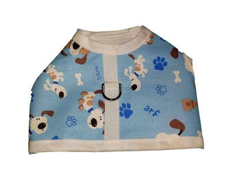 Light Blue Puppy Print  Dog Harness, Dog Clothing Pet Harness, Pet Clothing