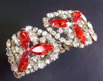 Red & Clear Rhinestone Clamper Bracelet, ROBYN RUSH, SilverTone, Vintage