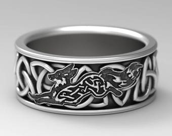 Sterling Silver Celtic Fox Ring, Fox Wedding Band, Mens Silver Band, Trillian Celtic Knot, Fox Jewelry, Trinity Celtic Ring Custom Size 1162