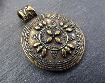 Round Tribal Ethnic Pattern Detail Artisan Medallion Pendant - Antique Bronze Plated
