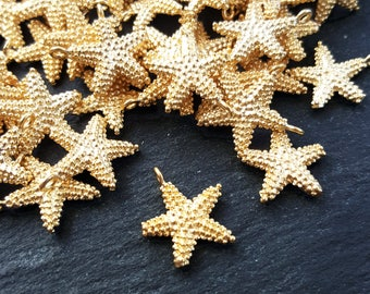 8 Detailed Star Charms Jewelry Making Supplies Findings - 22k Matte Gold Plated