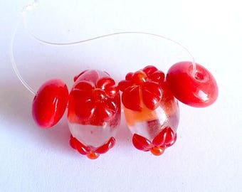 Set of 4 Lampwork Glass Beads 18 and 10mm, transparent and orange
