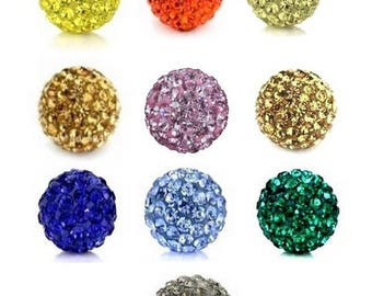 rhinestone bead - bead 12mm - colors to choose from polymer clay and rhinestones