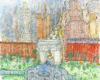 Washington Square NY, New York Painting, NYC Architecture, New York monument, Brownstones New York, New York Park Art, Manhattan Artwork NYC