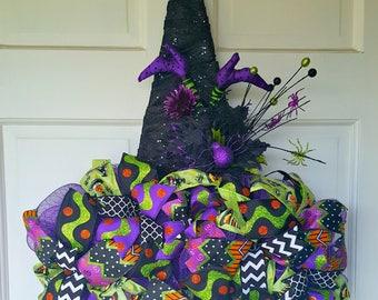 Witch Hat Wreath Halloween Wreath Deco Mesh Wreath Fall Wreath Autumn Wreath Halloween Decor, Outside Hallween decor,Halloween Hat Welcome