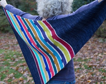Pipes - a bias knit garter stitch striped shawl