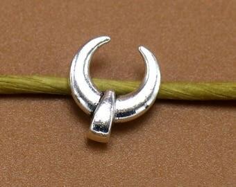 25 Ox Horn Charm, 12x11mm Antique Silver Tone Ox Horn Charm Pendant