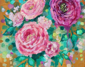 """floral painting on canvas- pink- flower art- canvas art- wall art-canvas wall art-canvas painting-abstract art-small artwork- 10""""x10""""- roses"""