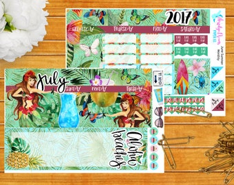Aloha Summer July Monthly Stickers for Happy Planner