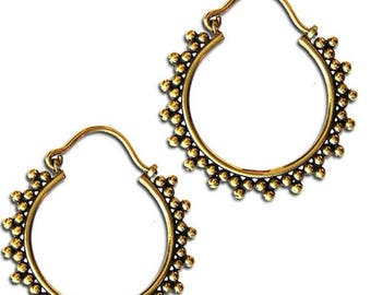 ON SALE CJ-Moril tribal goddess earrings, golden brass gypsy hoops, Hindu designs, ethnic paisley patterns, belly dance jewelry, bohemian ea