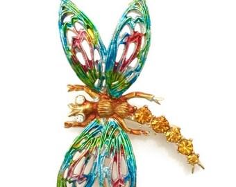 Enamel Dragonfly Brooch, Signed Art, Pierced Wings, Pastel Enamel Wings, Topaz Chaton Rhinestone Body, Clear Rhinestone Eyes,