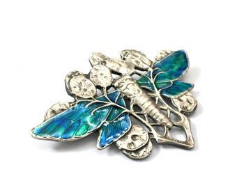 Art Nouveau Style Dragonfly Enamel Brooch, Blue & Green Enamel Wings, Art Nouveau Liberty Colors, English Hallmarks 1989, Statement Brooch