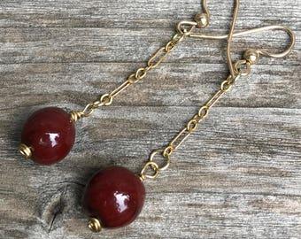 Handmade ceramic earrings - deep red