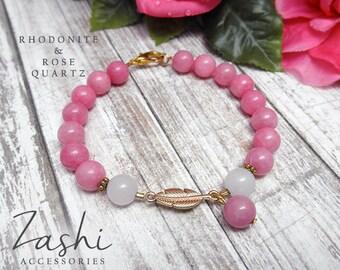 Pink Rhodonite and Rose Quartz Bracelet
