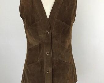 vintage Suede waistcoat 1970s vest brown suede leather long 70s waist coat hippy boho top chevron UK 14 brown festival chic Mod