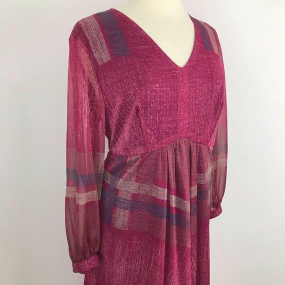 Vintage Maxi dress sparkly raspberry pink purple 1970s evening dress stretch lurex sheer disco UK 18 20 volup vintage plus size