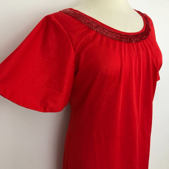 Vintage maxi dress red flared sleeves 1970s long A line plus size dress Studio 54 boho hippy festival UK 16 scarlet 70s disco sequin sparkly