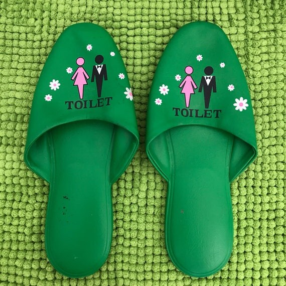 Vintage slippers Japanese house shoes slip ons size small boudoir shoes kitsch grass green toilet shoes flat GoGo nu wave