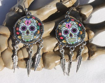 Halloween Day of the Dead Sugar Skull Dangle Drop Earrings Ant. Silver SS2  /1pair