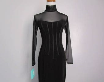 Vintage TADASHI SHOJI Black Corset Style Sheer Mesh Sleeves and Neckline Evening Glam Gown Formal Side/Front Slit Long Bodycon Dress Size S