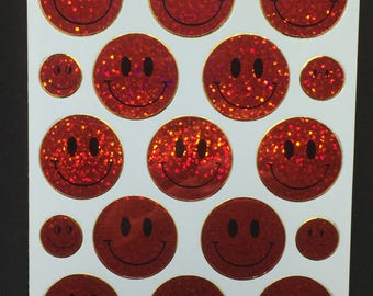 Hologram Red Smiley Face Sticker Hologragpic Stickers (2 sheets)