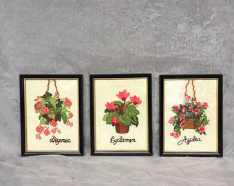 Framed Embroidered Flowers - Floral Embroidery Art - Vintage Crewel Embroidery Wall Decor - Country Cottage Decor - Floral Wall Art
