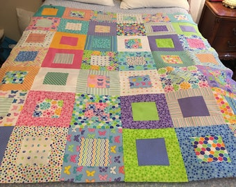 Brighten Up Me and My Sister Quilt Top 50x60