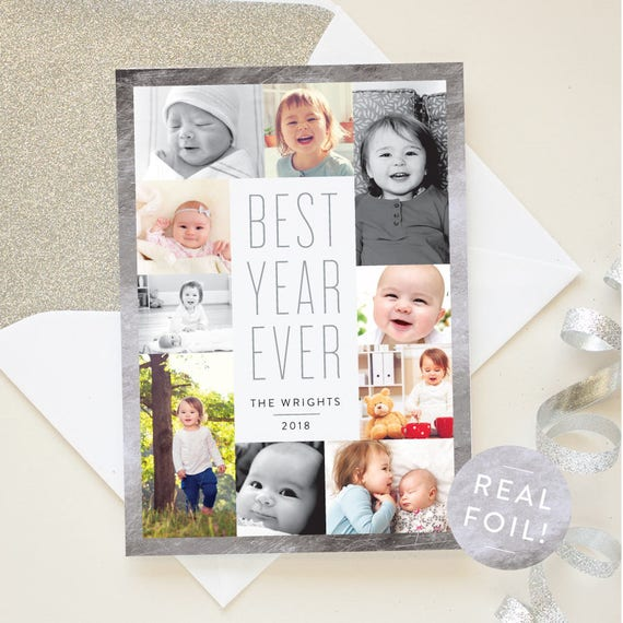 New Year Cards with Silver Foil Border, Best Year Ever Multi Photo Gallery Layout, Foil Pressed New Year Cards for 2018 | Bordered Year