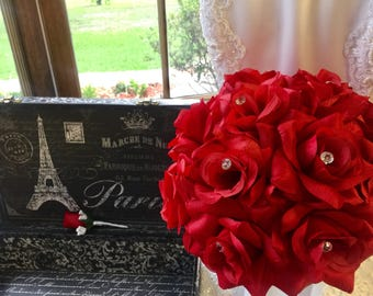 Red Rose Wedding Bouquet with Boutonniere, Red Bouquet, Red Rose Bridal Bouquet, Red Bridal Bouquet, Red Flower Bouquet, Red Bridesmaid