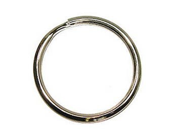 "1-1/8"" Split Key Ring Beveled Nickel Carbon Steel Key Chain - 100 Pack"