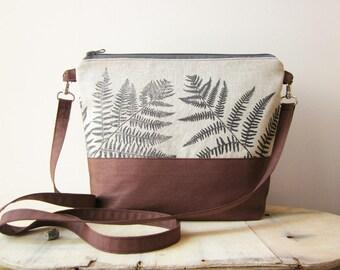 Ferns Crossbody bag, hand stamped bag, handprinted linen bag, Ferns stamped bag, Vegan crossbody bag, brown bag