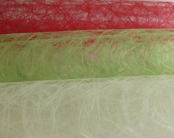 Spiders web  net, red,cream,green, mixed media,collage