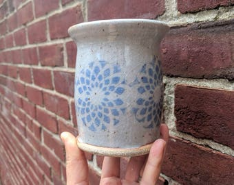 Homemade Blue and Gray Ceramic Water Cup or Tumbler / Lace Pottery / Flower Decoration