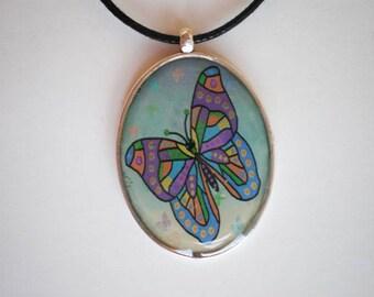 Butterfly pendant - Resin pendant - Art pendant - Art jewelry - Resin pendant - Gift for her - Butterfly