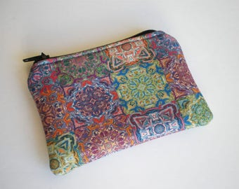 Coin purse, Small zipper pouch, Card wallet, Gift idea, Mandala, Tiles, Mandala coin purse, Tiles coin purse