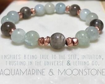 Aquamarine & Moonstone bracelet. Gemstones. High-quality.