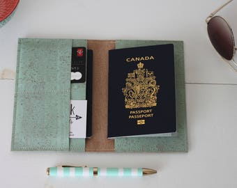 Mint cork fabric passport wallet, passport cover, travel wallet, passport holder